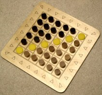 Six-by-Six  gameboard, set up for Knight's Tourney