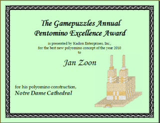 Jan Zoon's GAPE award for his construction, Notre Dame Cathedral, with polycubes 1 through 8